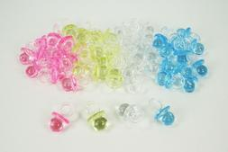 "100 Mini Acrylic Pacifiers Baby Shower Favor 3/4"" x 1/2""  CH"