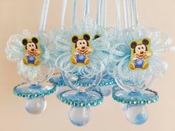 12 Baby Mickey Mouse Blue Pacifier Necklaces Baby Shower Gam