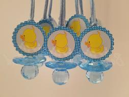12 Duck Diamond cut Pacifier Necklaces Baby Shower Blue Favo
