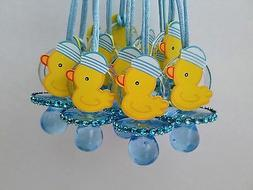 12 Duck Pacifier Necklaces Baby Shower Game Blue Favors Priz