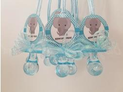 12 Elephant Pacifier Necklaces Baby Shower Favors Blue It's