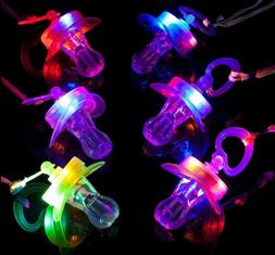 Light Up Pacifiers LED Party Glow Whistle Flashing Lanyard P