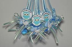 12 Plastic pacifiers for party decoration BABY SHOWER OWL- c