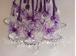 12 Purple Butterfly Pacifier Necklace Baby Shower Game Girl