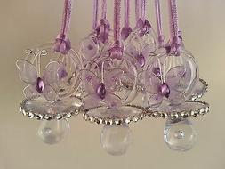 12 Purple Butterfly Pacifier Necklaces Baby Shower Games~Gir