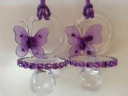 12 Purple Butterfly Pacifier Necklaces Baby Shower Game Girl