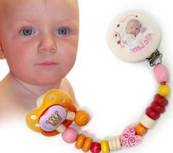 Hess 13608 Wooden Pacifier Chain with Girl Picture Baby Toy,