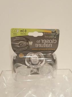 2-Tommee Tippee Closer To Nature 0-3 Months Pacifier , Clear
