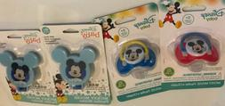 2 Mickey Mouse Pacifiers And 2 Mickey Pacifier Holders Baby
