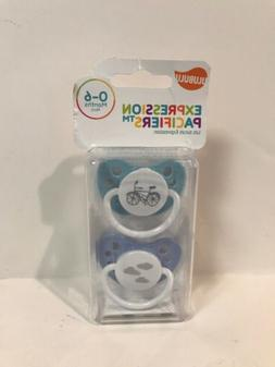 2 NEW ULUBULU EXPRESSION PACIFIERS 0-6 MONTHS BLUE BICYCLE &