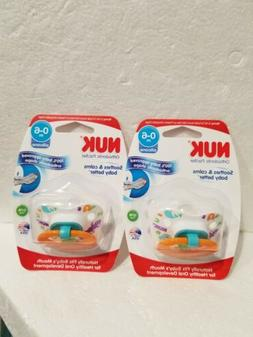 2 New NUK orthodontic pacifiers pack 0-6 months silicone Uni