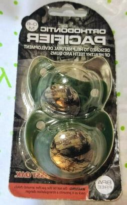 2 Pack Mossy Oaks Green Camo Pacifiers, 0-6 Months, Orthodon