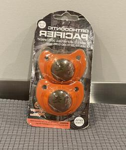 2 PACK REALTREE ORTHODONTIC BLUE AND ORANGE CAMOUFLAGED PACI