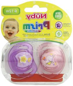 Nuby 2-Pack Prism Orthodontic Pacifiers, Colors May Vary