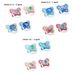 2 Pk Dr Brown's PreVent Butterfly Pacifier PINK BLUE 0-6m 6-