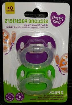 2 Silicone Pacifiers NEW Parent's Choice 0+ Months Purple Gr
