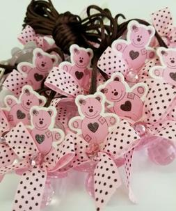 24pcs Baby Shower teddy bear pacifiers  Favors for Girl