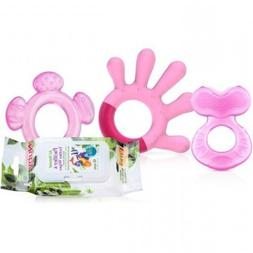 Nuby 3-Stage Teething System with Wipes, Girl, BPA-Free