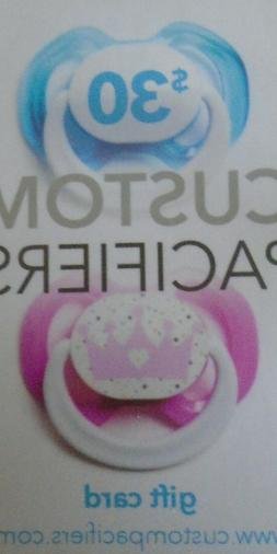 $30 Custom Pacifiers Gift Card Baby Gift Fun Email delivery
