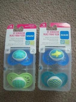 4 New Sealed MAM Pacifiers 6+ months Trends Collection Skin