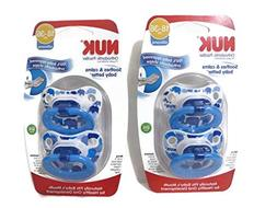 4 Nuk Orthodontic Silicone Pacifiers 18-36 mo BOY Circle Dot