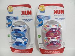 4 Nuk Orthodontic Silicone Pacifiers 18-36 mo BOY + GIRL TWI