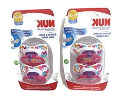 4 Nuk Orthodontic Silicone Pacifiers 18-36 mo GIRL Butterfli