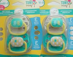 THE FIRST YEARS PACIFIERS ORTHODONTIC 6-18 MONTHS OWLS NEW