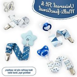 4 Pack Pacifier Clip Boys Teething Toy Soothers Baby Gift Wa