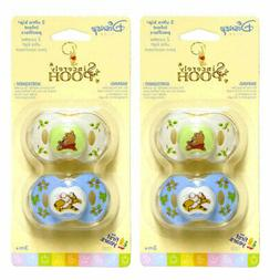 4 Sincerely Disney Baby Infant WINNIE THE POOH Pacifiers 3+