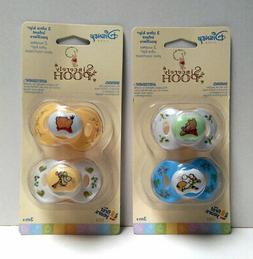 4 Sincerely Disney WINNIE THE POOH Infant Baby Pacifiers 3+M