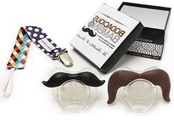 B.B. Mustache Pacifier 2-Pack with Pacifier Clip by Bodaciou