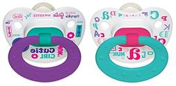 NUK Baby Talk Puller Pacifier, 0-6 Months, Aqua/Purple