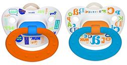 NUK Baby Talk Puller Pacifier, 0-6 Months, Blue/Orange