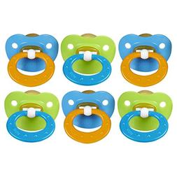 NUK Juicy Orthodontic Latex Pacifier, Size 3, 6 Pack - Blue/