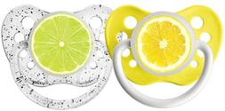 Ulubulu Expression Pacifier Set, Unisex, Lemon and Lime, 6-1