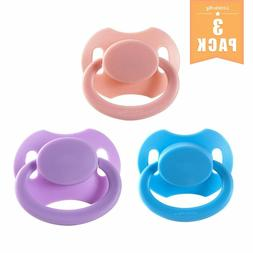 Adult Sized Pacifier Silicon Baby Dummy Larger Button 3 Pack