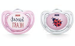 NUK 2-Piece Airflow Orthodontic Pacifiers, Girl, 0-6 Months