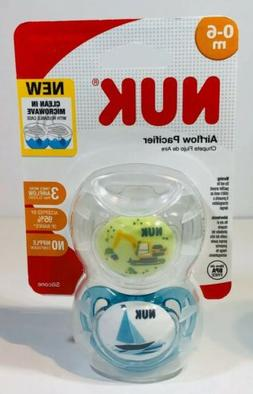 NUK 2-Piece Airflow Orthodontic Pacifiers, Boy, 0-6 Months