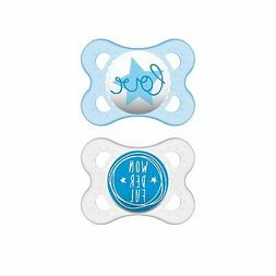 MAM Attitude 2 Piece Orthodontic Pacifier, Boys, 0-6 Months