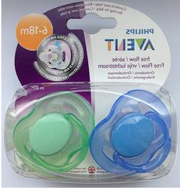 Philips Avent Freeflow Pacifiers 6-18 Months 2-pack  Blue/Gr