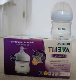 Avent Natural 3 Pack of 4oz / 125 ml Wide Neck Baby Bottles