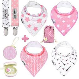 Baby Bandana Drool Bibs by Dodo Babies For Girls + 2 Pacif