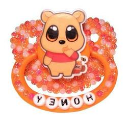"Baby Bear Pacis Adult Pacifier ""Honey"" Orange Adult Paci"