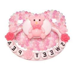 """Baby Bear Pacis Adult Pacifier """"Sweet Pea"""" Teddy Bear White"""