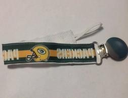 Baby Boy Girl Pacifier Clip Holder Ribbon Green Bay Packers