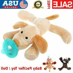 Baby Dummy Pacifier Chain Clip Soft Plush Animal Toy Soother