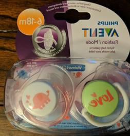Philips Avent Baby Girl Infant 2 Pack Orthodontic Pacifiers