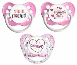 Ulubulu Baby Girls Pacifier Set- 3 Binkies- Daddy's Girl, Mu