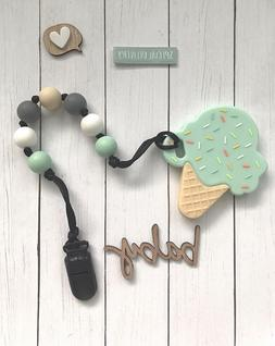 Baby Infant Silicon Pacifier Clip with Teething Pain Relief